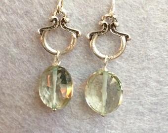 Prasiolite Green Amethyst Sterling Silver Earrings Gemstone Handmade