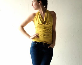 Halter Top, Yellow Jersey Tshirt, Women clothing, Jersey Blouse, sleeveless top, Draped, Jersey shirt, Yoga clothing, plus size, Party top