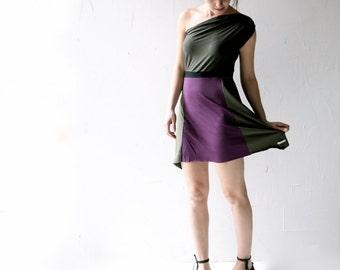 Off the shoulder dress, One shoulder dress, Purple dress, Party dress, Jersey dress, olive dress, Womens clothing, womens dress, mini dress