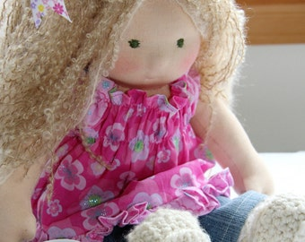 Waldorf Doll, blonde curly hair, green eyes, sitting doll  LUCIE