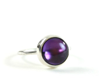 pastille stacking rings   amethyst