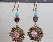Vintage Golden Flower Rhinestone Drop Earrings with Swarovski® Crystal Beads
