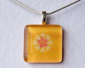 Handmade Glass Tile Yellow & Pink Flower Pendant