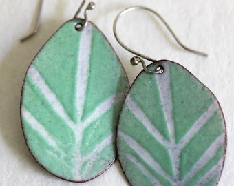 Enamel Earrings - OOAK - Aqua Green and White - leaf stencil art - Teardrop shape
