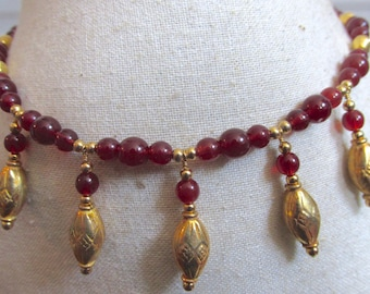 Carnelian-Red Glass and Gold-Plated Necklace