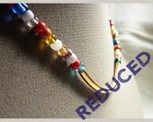 African Christmas Bead  Necklace X Bracelet // 22K Gold Tube Focal // Happy Jewelry // Gift for Loved Ones (WAS 18.25)