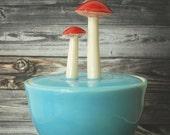 Mushroom Sugar Bowl, Sky Blue