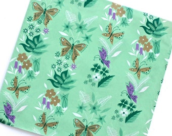 Vintage Green Gold Butterfly Floral Gift Wrap