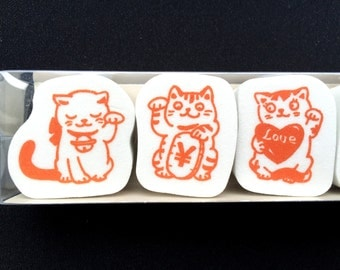 Japanese Rubber Stamp Set - Maneki Neko Rubber Stamps - Lucky Cat Rubber Stamp - Set of 5