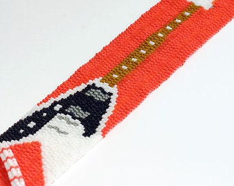 Guitar Cuff Bracelet // Beaded // Red // Clearance