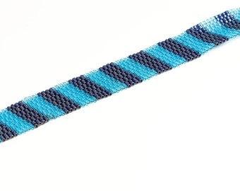 Stripe Beaded Bracelet // Light and Dark Blue // Seed Beads // Peyote Stitch // Beadwork