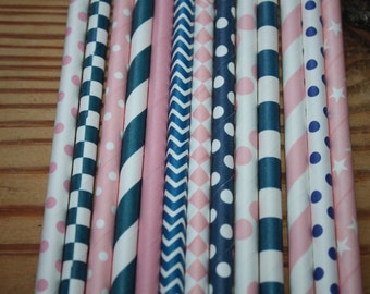 Nautical Theme Straws -- Drinking Straws pink and navy