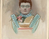 vintage photo original Gouache Painted Cabinet Woman Green Glasses Flowers Outsider Mixed Media