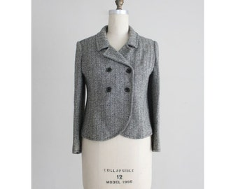 herringbone wool jacket / 1950s suit jacket / herringbone blazer