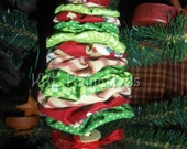 Red & Green Assorted Fabric Yo Yo Christmas Tree Ornament