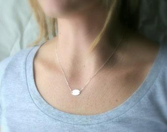 Tiny oval sterling silver necklace - minimalist