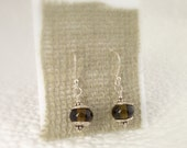 Tiny recycled wine bottle glass earrings