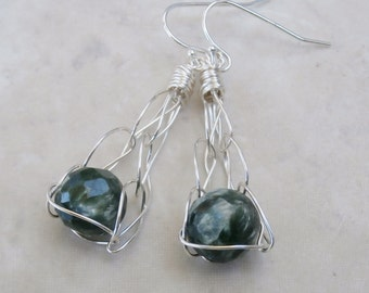 Seraphinite Earrings, Silver Earings, Faceted, Chatoyant Gemstones, Forest Green Shimmery Beauty - They Look Like Stones Caught in a Net