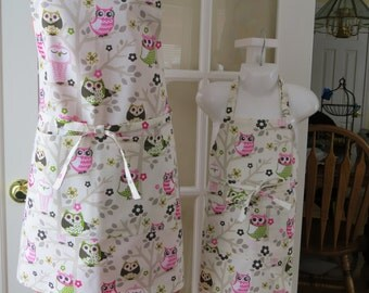 Mother & Daughter Aprons - Cute Owls