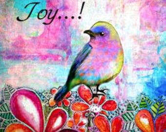 Today I choose Joy  bird art print original digital and watercolor collage art bird tree print 8 x 10