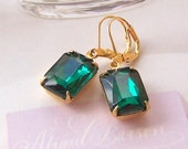Green Emerald Earrings, Gold Filled Ear Wires, Square Vintage glass, Estate Style, Old Hollywood, Birthstone Jewelry