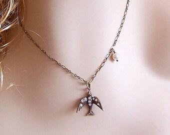 Rhinestone Bird Necklace, Vintage Style Rhinestone BlackbBird,  Bird Pendant Necklace, Swarovki Pearl Necklace, Holiday Sparkle