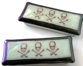 Skull and Crossed Bones - Macabre Tiny Box - X Marks the Spot - Gothic Romance