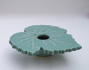 Flower Vase . Grape Leaf Ikebana Vase in Seafoam Green . Handcrafted Ceramic Pottery . Kiln Fired Pottery