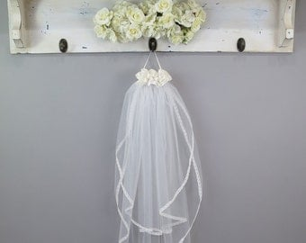 First Communion Veil - Flowers, Tulle, Lace Trim