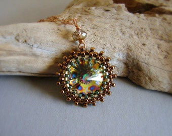 Crystal Beadwork Pendant Necklace Peacock Rivoli Crystal Necklace Bronze Chain Necklace