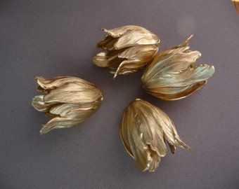 Four Flower Bead Caps - Raw Brass Tulip - Detailed LARGE