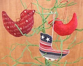 Patriotic Red White and Blue  Bird Ornament Bowl Fillers Set of Three