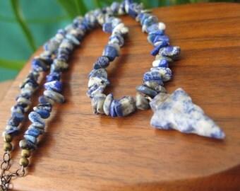 Sale - Blue Arrowhead Stone Necklace - Gemstone & Brass Chain - Sodalite Lapis Lazuli - Midnight Denim - Cobalt - Bohemian Women's Jewellery