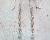 Delicate Earrings with Faceted Amazonite