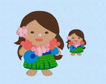 Hawaiian Dancer Girl Machine Embroidery Design File in 2 sizes