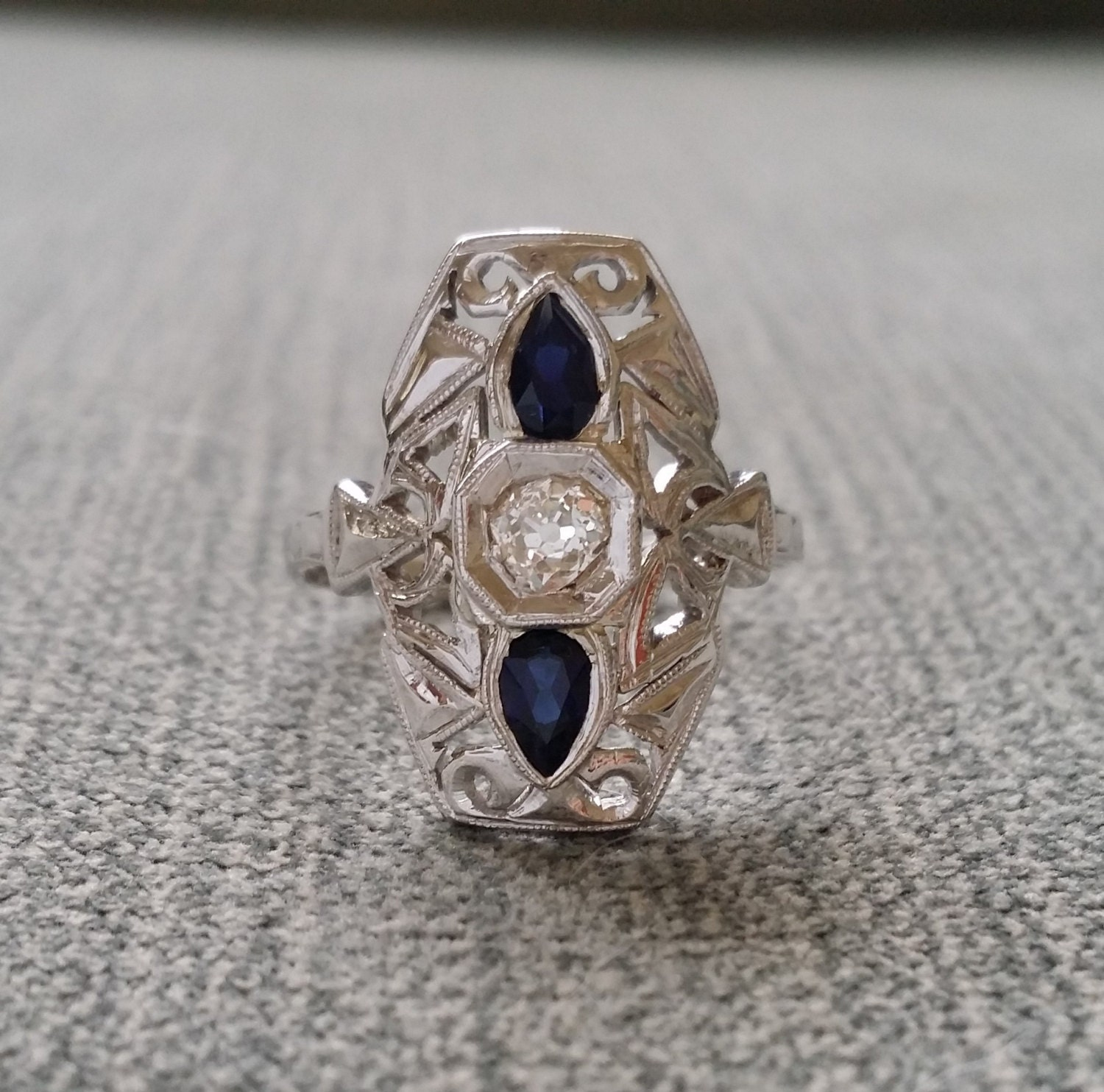 antique blue sapphire engagement ring by penellibelle