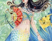 Oriental Mermaid Art Print - Butterfly Fan and Pearls