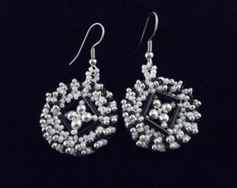 Black White Earrings, Drop Earrings, Medallion Earrings, Evening Earrings, Beaded Earrings, Seed Beads