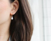 moonbeam - gold and white teardrop earrings by elephantine