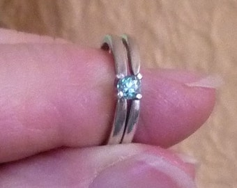 3.3mm round cut .14 ct aqua blue diamond sterling silver wedding set engagement ring sterling silver size 4.5