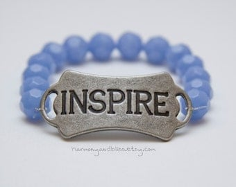 Inspire charm bracelet blue bead stretch bracelet stackable jewelry