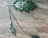 Green And Silver Spiral Oak Leaf Barrette With Dangling Leaves And Filigree Cabochon