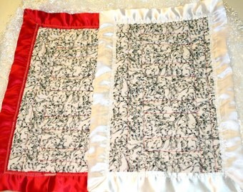 Baby blanket, minky: Take-Along 14x20 inch quilt, Baby's First Colors & dog lover's delight with satin edge