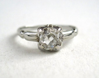 1920s Art Deco Engagement Ring with .68ct VS2/H-I Old Mine Cut Diamond Solitaire in 18K White Gold