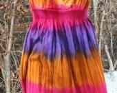 CLEARANCE was 27.00 Purple orange pink hippie tie dye sun dress medium cotton