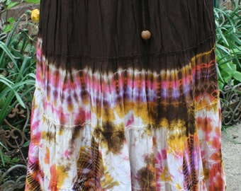 Brown, pink, and yellow cotton tie dye skirt medium