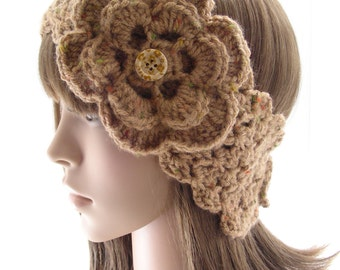 Caramel Brown Fleck Headwarmer with Flower, Crochet Ear Warmer, Women's Head Band, Buttoned Head Wrap, HW137-01