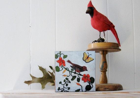 Art Print Mounted on Wood 5x5 Brown Bird Orange Flower Forest Woodland