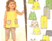 Girls clothing tops cropped pants shorts Play casual wear sewing pattern Simplicity 9786 Sz half to 4 UNCUT