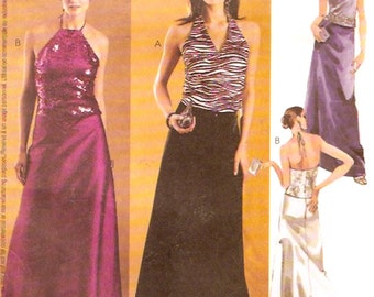 Halter tops skirt Wedding outfits Evening Elegance sewing pattern McCalls 3435 Sz 4 to 8 UNCUT small Brides outfits